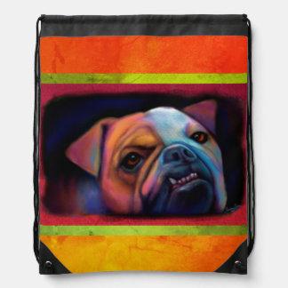 Artsy Bulldog Drawstring Bag