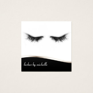 Artsy Chic Black & White Eyelashes Designer Square Business Card