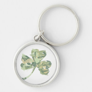Artsy Clover for St Patricks Day Silver-Colored Round Key Ring