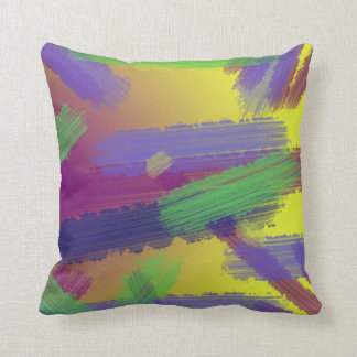 Artsy Colorful Paint Strokes Pillow