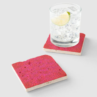 Artsy-Crackle-Red-Pink-Accent-Coasters Stone Coaster