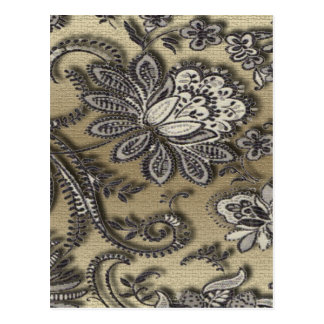 Artsy Embossed Black & Gold Flowers Postcard