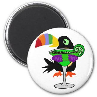 Artsy Funny Toucan Bird Drinking Margarita 6 Cm Round Magnet