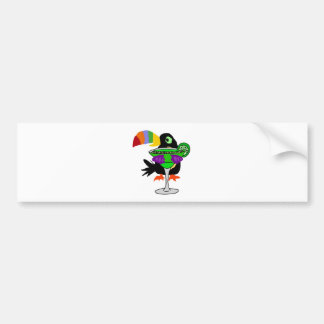 Artsy Funny Toucan Bird Drinking Margarita Bumper Sticker