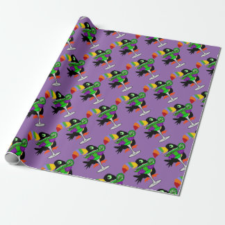 Artsy Funny Toucan Bird Drinking Margarita Wrapping Paper