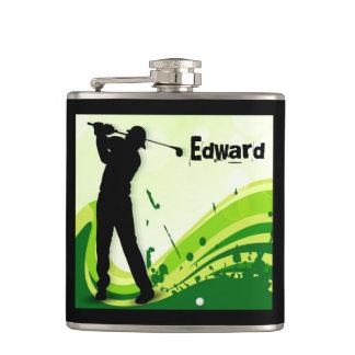Artsy Golf Player Hip Flask