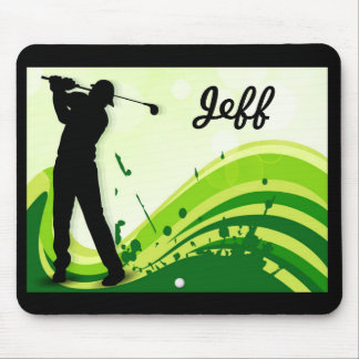 Artsy Golf Player Mouse Pad
