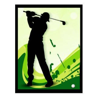 Artsy Golf Player Postcard