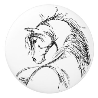 Artsy Horse Head Sketch Ceramic Knob