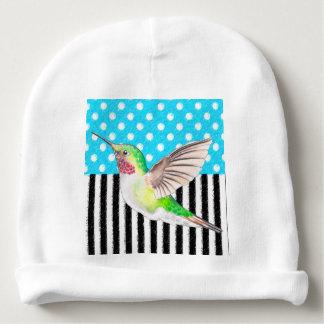 Artsy Hummingbird Blue Baby Beanie