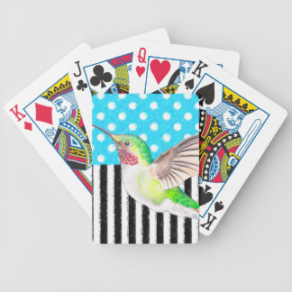 Artsy Hummingbird Blue Bicycle Playing Cards
