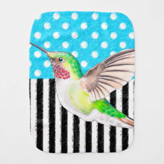 Artsy Hummingbird Blue Burp Cloth