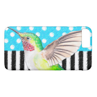 Artsy Hummingbird Blue iPhone 8 Plus/7 Plus Case