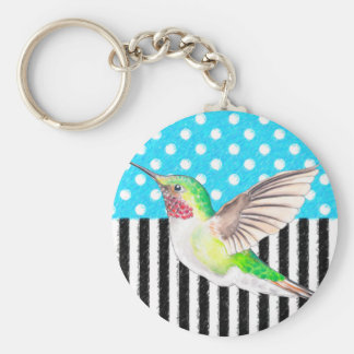 Artsy Hummingbird Blue Key Ring