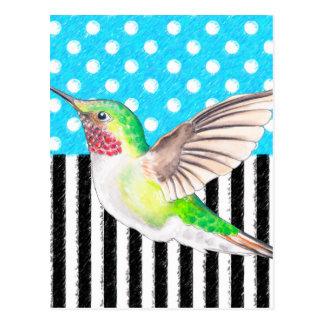 Artsy Hummingbird Blue Postcard