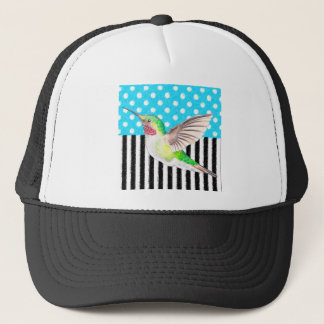 Artsy Hummingbird Blue Trucker Hat