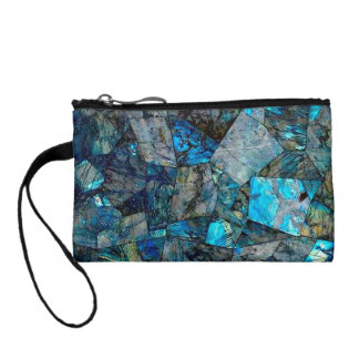 Artsy Labradorite Abstract Gems Coin Purse Clutch