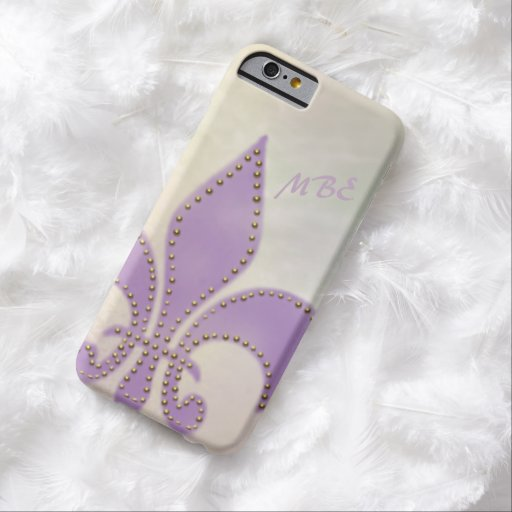 Artsy Mardi Gras Purple Fleur de Lis Barely There iPhone 6 Case
