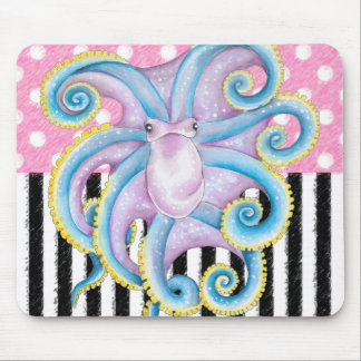 Artsy Octopus Pink Mouse Pad