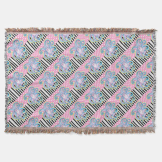 Artsy Octopus Pink Throw Blanket