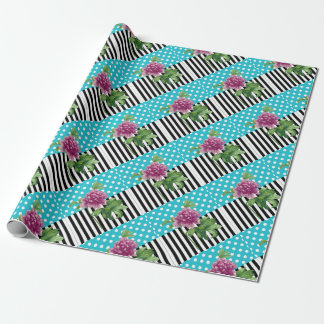 Artsy Peony Blue Wrapping Paper