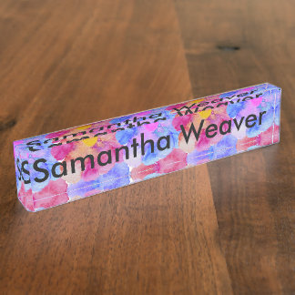 Artsy Pink Blue and Purple Watercolor Flowers Nameplate