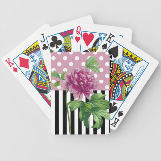 Artsy Pink Peony Bicycle Playing Cards