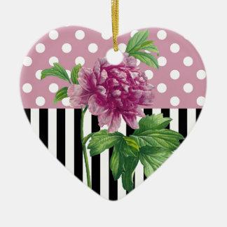 Artsy Pink Peony Ceramic Heart Decoration