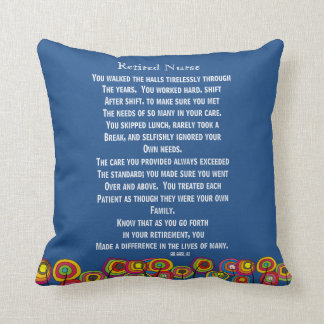 Artsy Retired Nurse Poem Pillow Navy Blue