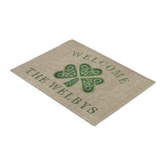 Artsy Shamrock Personalized Irish Welcome Doormats