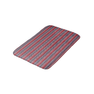 Artsy Stripes in Patriotic Red White and Blue Bath Mats
