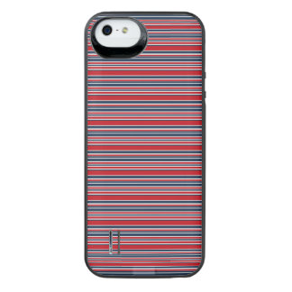 Artsy Stripes in Patriotic Red White and Blue iPhone SE/5/5s Battery Case