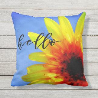 Artsy Sunflower Bold Bright Hello Sunshine Throw Pillow