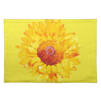 Artsy Sunflower on Yellow Placemat