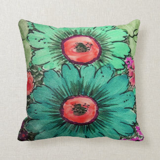 Artsy Teal Green Sunflowers Throw Pillow