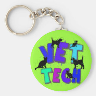 Artsy Vet Tech Gifts, Unique artist drawn design Key Ring
