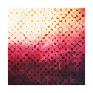Artsy Vintage Pink Grunge Floral Cross Pattern Art Canvas Prints