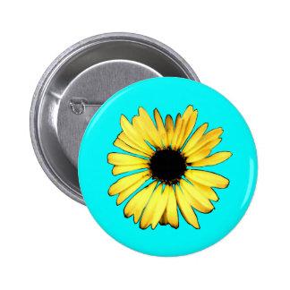 Artsy Yellow Gerbera Daisy 6 Cm Round Badge