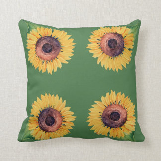 Artsy Yellow Sunflowers on Green Throw Pillow
