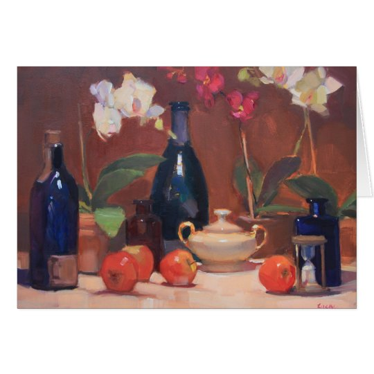 Artwork of Orchids with Sugar Bowl and Bottles Card