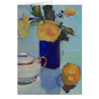 Artwork of Yellow Roses and Lemon Card