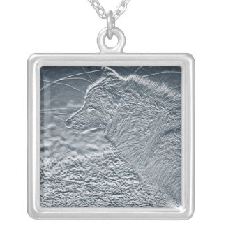 artwork wolf square pendant necklace