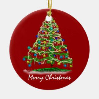 Arty Abstract Christmas Tree Ceramic Ornament