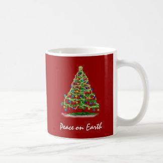 Arty Abstract Christmas Tree on Christmas Red Coffee Mugs