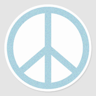 Arty Blue Peace Symbol Round Sticker