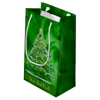 Arty Christmas Tree - Personalizable Text Small Gift Bag