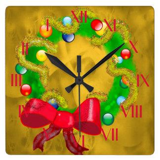 Arty Christmas Wreath Backward Clock