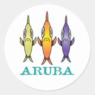 Aruba 3-Fishes Classic Round Sticker