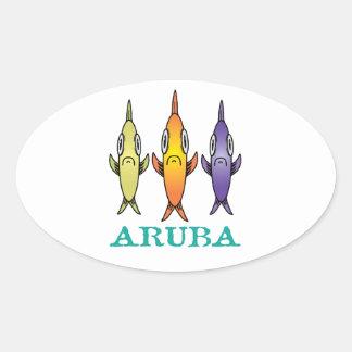 Aruba 3-Fishes Oval Sticker