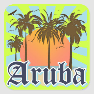 Aruba Beaches Sunset Square Sticker